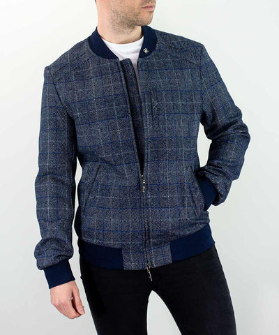 Miles Navy Check Bomber Jacket
