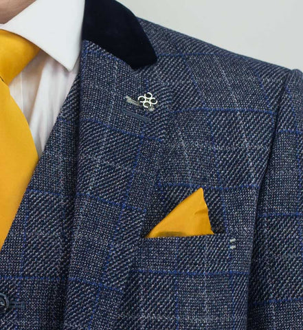Miles Navy Blue Tweed Check Three Piece Suit