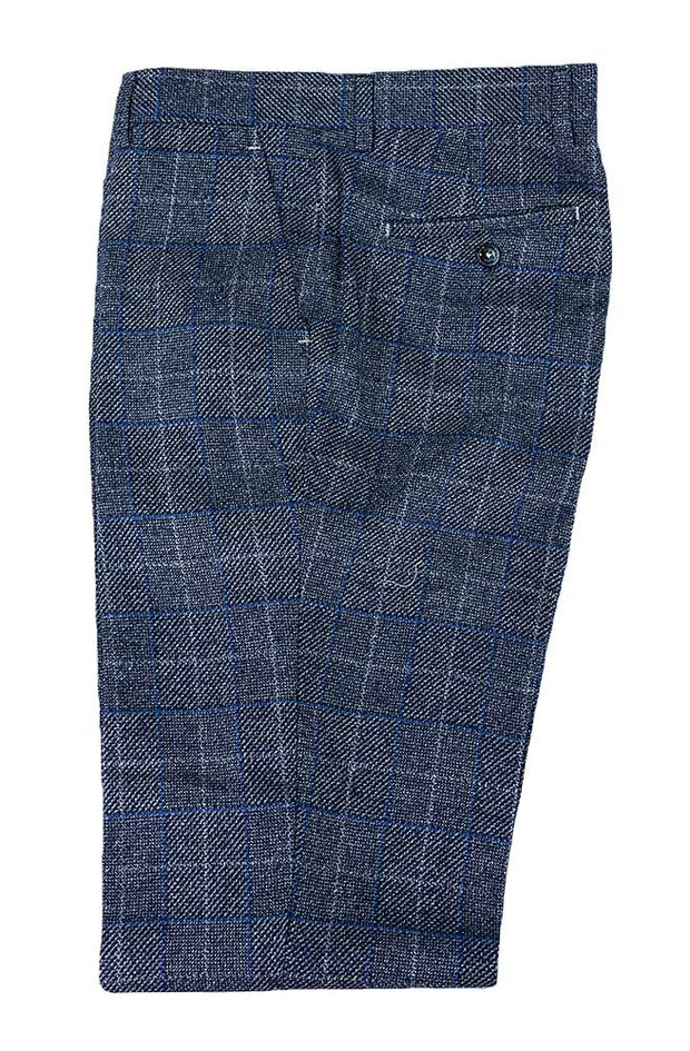 Miles Navy Blue Tweed Check Trousers