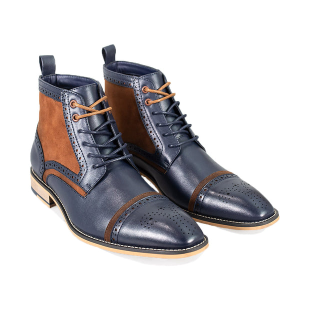 Modena Navy Lace Up Boots