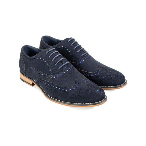 Mortimer Navy Suede Brogue Shoes