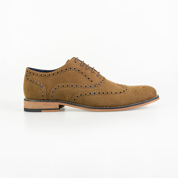Mortimer Tan Suede Brogue Shoes