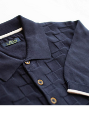 Cavani Navy Textured Polo Shirt
