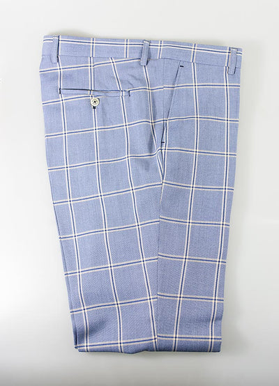 Paradise Sky Blue Check Trousers