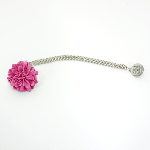 Pink Lapel flower Chain Pin