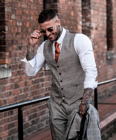 Quincy Stone Check Slim Fit Three Piece Suit