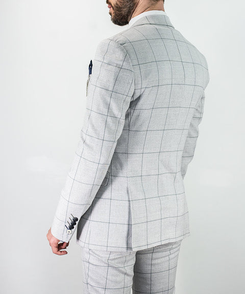 Radika Slim Fit Light Grey Check Suit