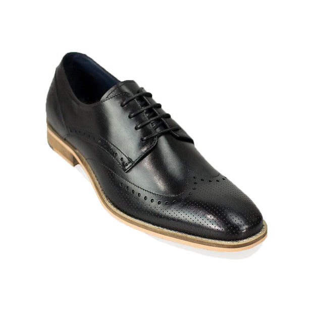 Rome Black Brogue Shoes