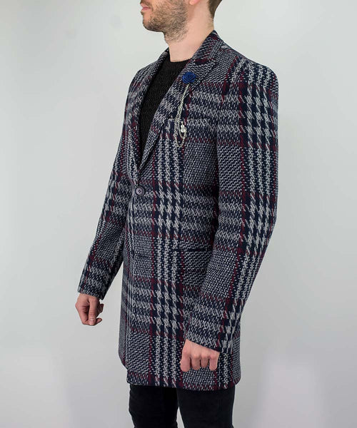 House Of Cavani Rufus Check Pattern Autumn Winter Overcoat