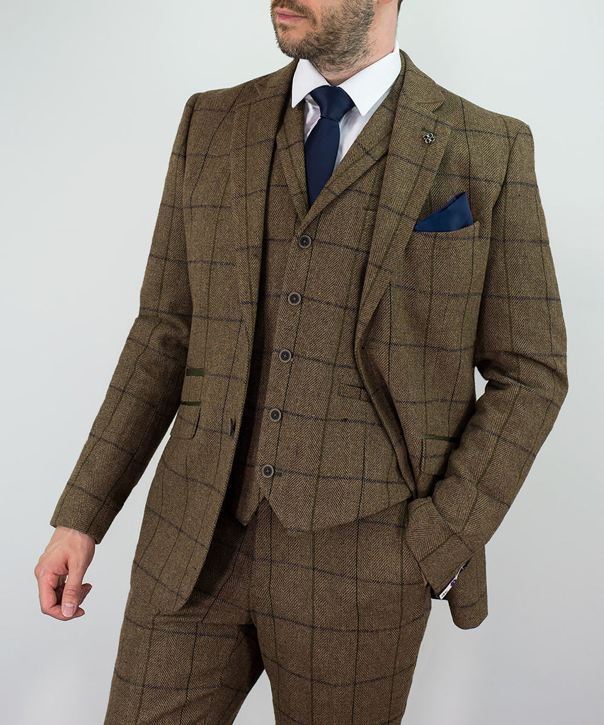 House Of Cavani Sergio Brown Tan Tweed Wedding Three Piece Suit