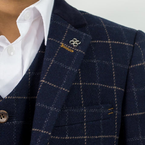 Shelby Navy Tweed Check Boys Suit