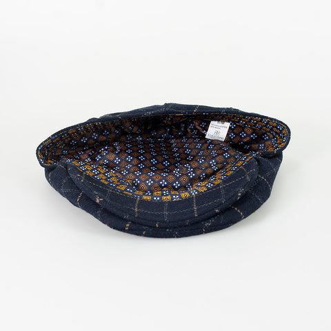 Shelby Navy Tweed Check Flat Cap