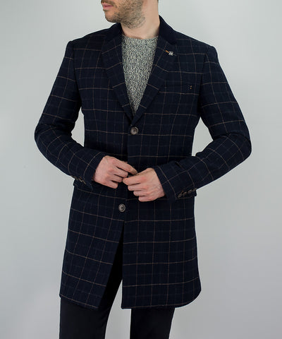 Shelby Navy Tweed Check Overcoat