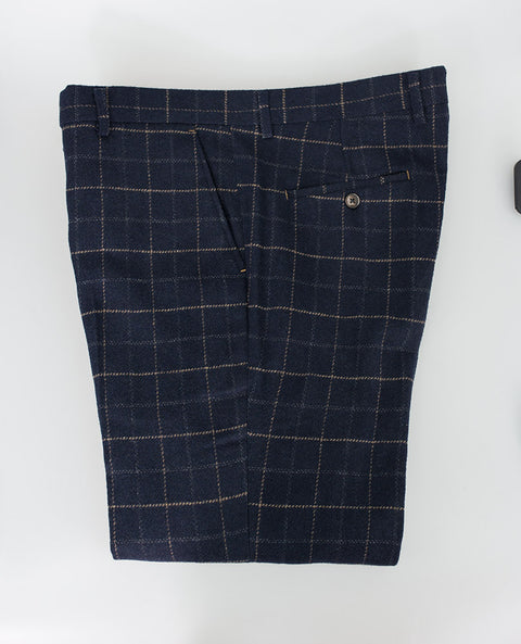 House Of Cavani Shelby Navy Blue Check Tweed Peaky Blinders Trousers Formal Wedding
