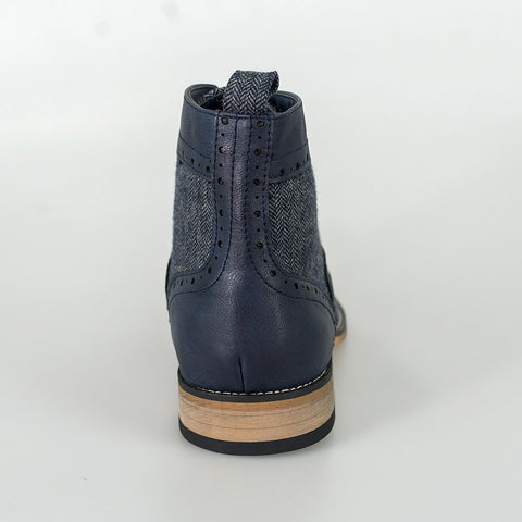 Sherlock Navy Lace Up Boots
