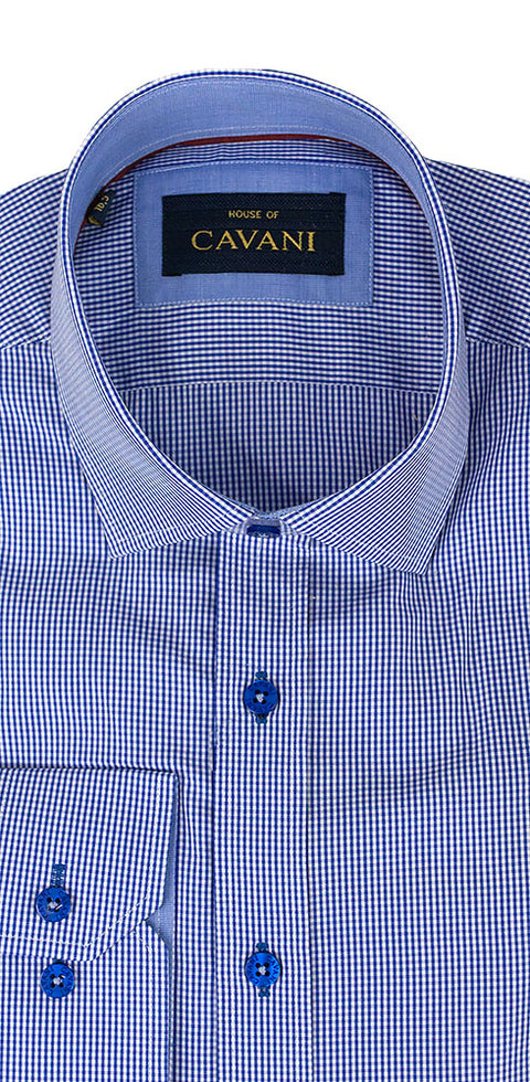 House Of Cavani CV601 Blue Formal Smart Shirt