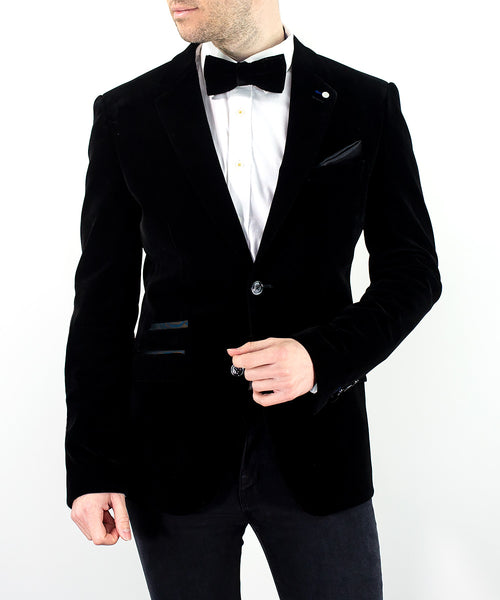 Sicily Black Velvet Slim Fit Blazer