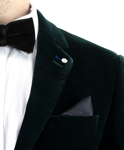 Sicily Forest Green Slim Fit Velvet Blazer