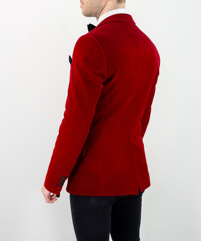 Sicily Red Velvet Slim Fit Blazer