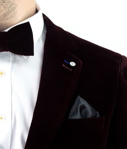 Sicily Wine Velvet Slim Fit Blazer