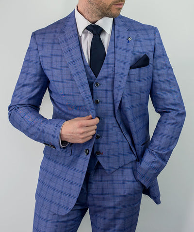 House Of Cavani Tamara Blue Check Peaky Blinders Slim Fit Suit