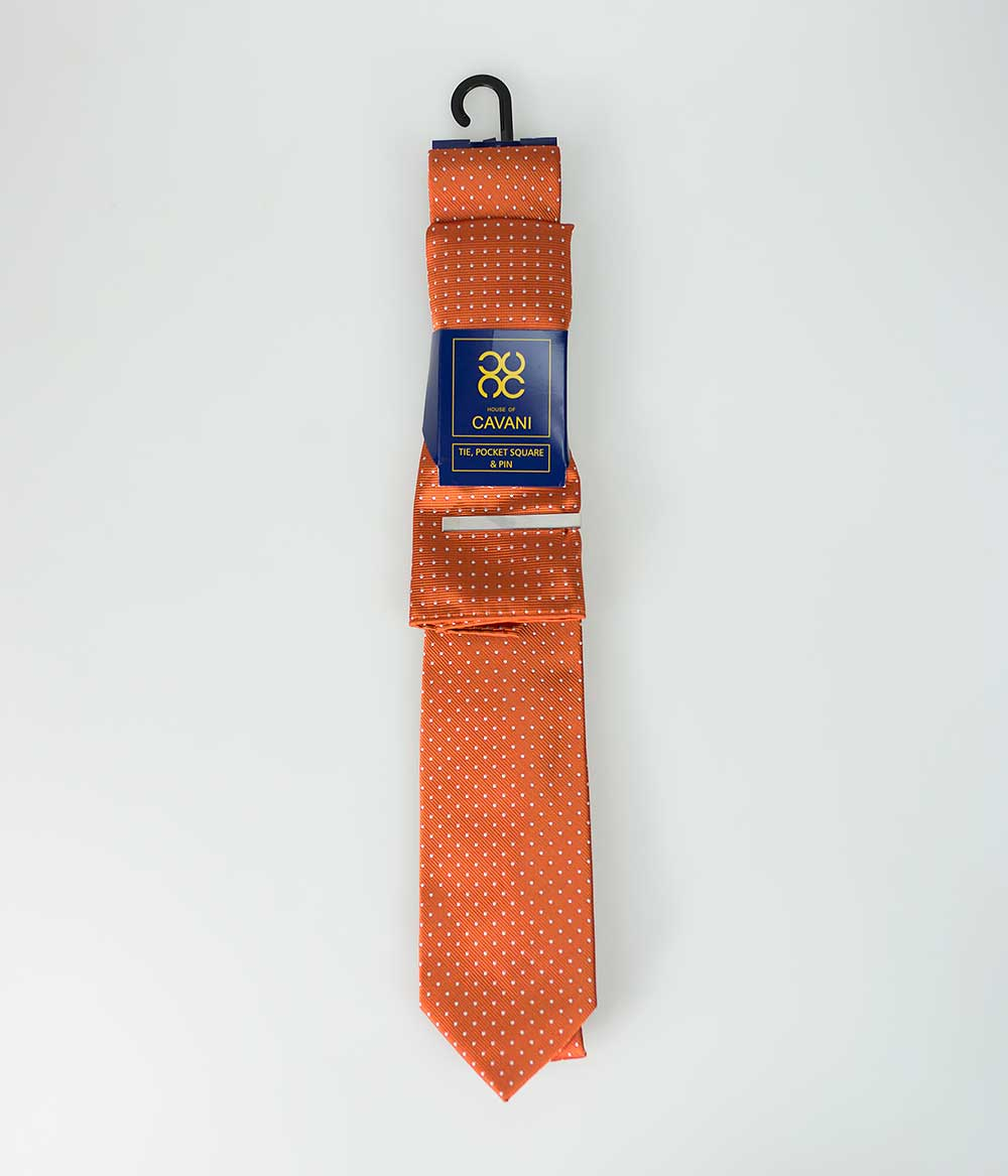 Orange Dot Tie Set