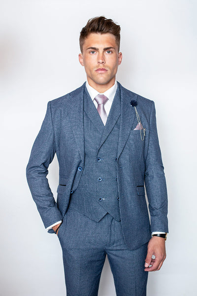 Tomas Blue Slim Fit Three Piece Suit