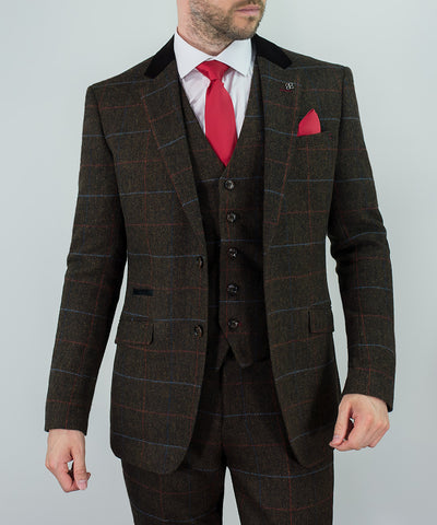House Of Cavani Tommy Brown Check Tweed Three Piece Suit Formal Wedding
