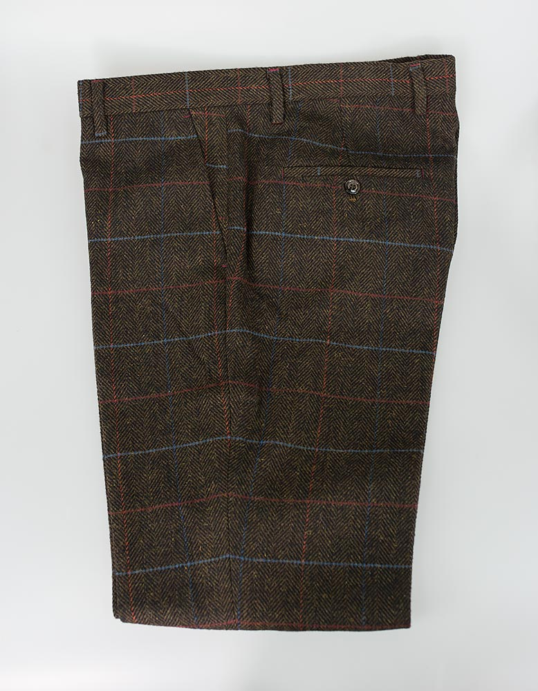 House Of Cavani Brown Check Tweed Trousers