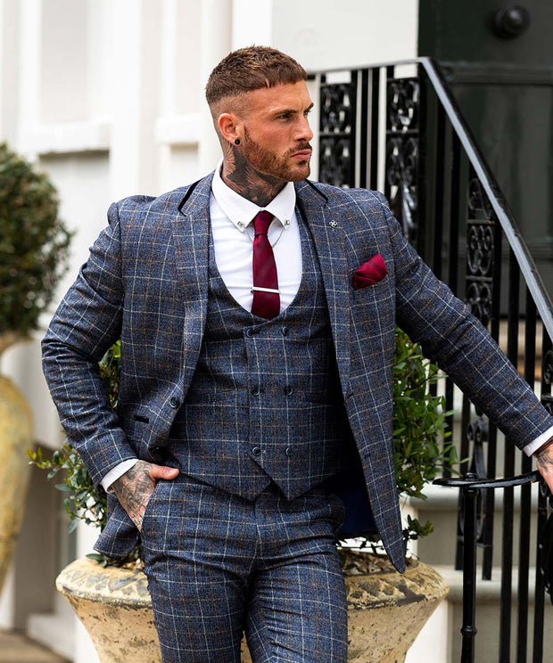 Bonita Blue Check Three Piece Suit