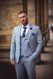 Colt Light Blue Check Three Piece Suit
