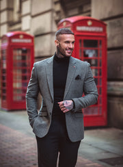 Martez Grey Tweed Slim Fit Blazer