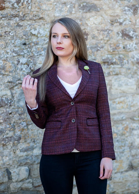 Carly Wine Tweed Women's Blazer