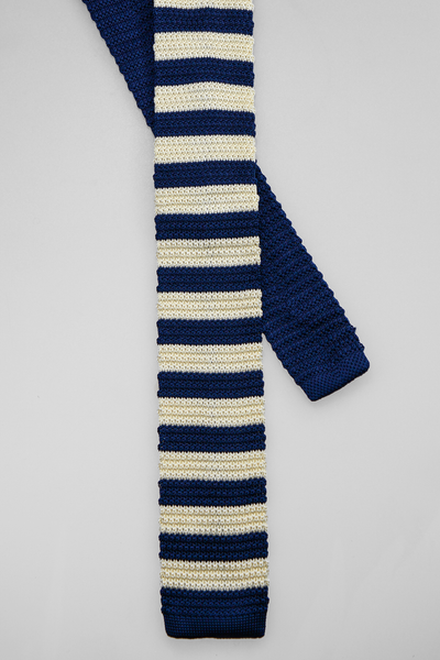 Sand & Navy Knitted Tie Set