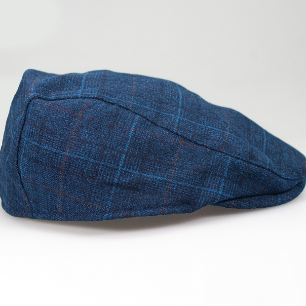 Cody Navy Tweed Check Flat Cap