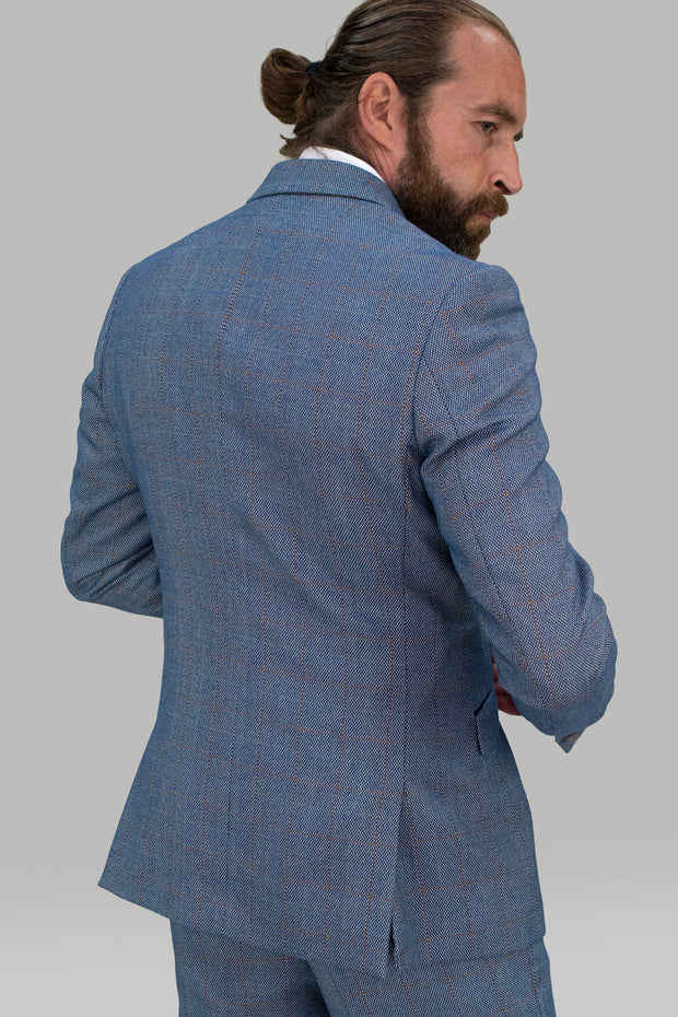 Del Blue Three Piece Check Suit