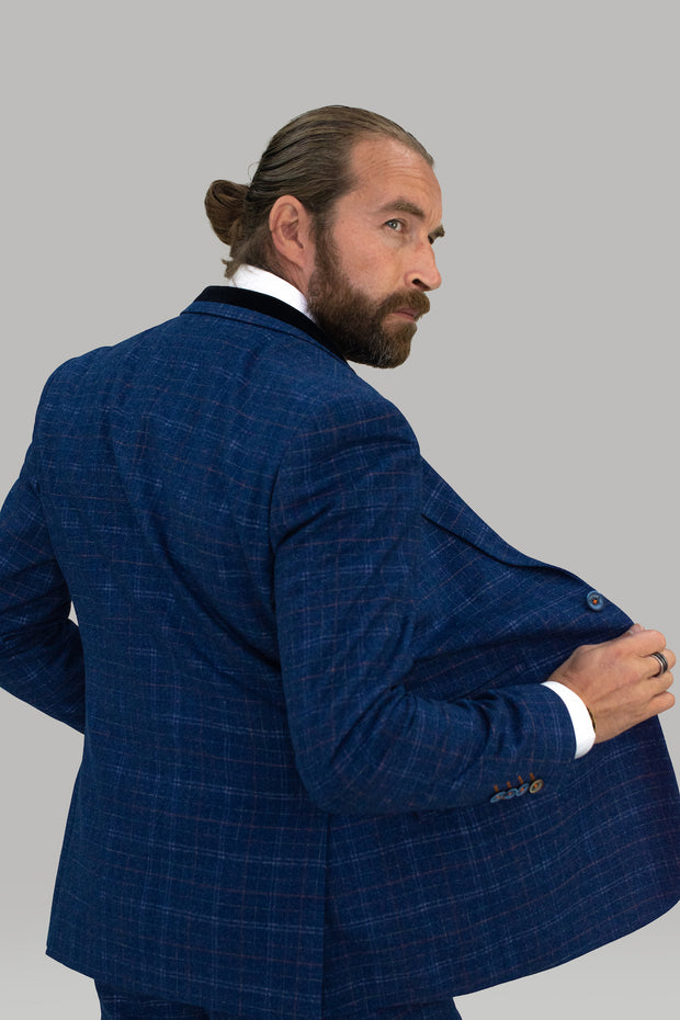Kaiser Blue Tweed Slim Fit Blazer