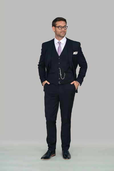 Marco Black Three Piece Slim Fit Suit