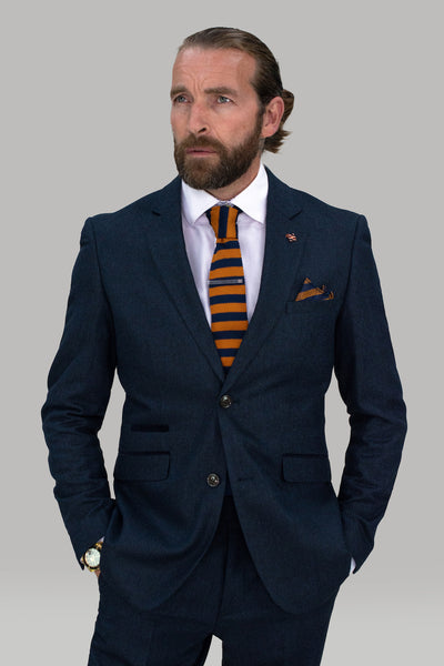 Martez Navy Tweed Slim Fit Blazer