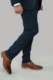 Martez Navy Tweed Trousers