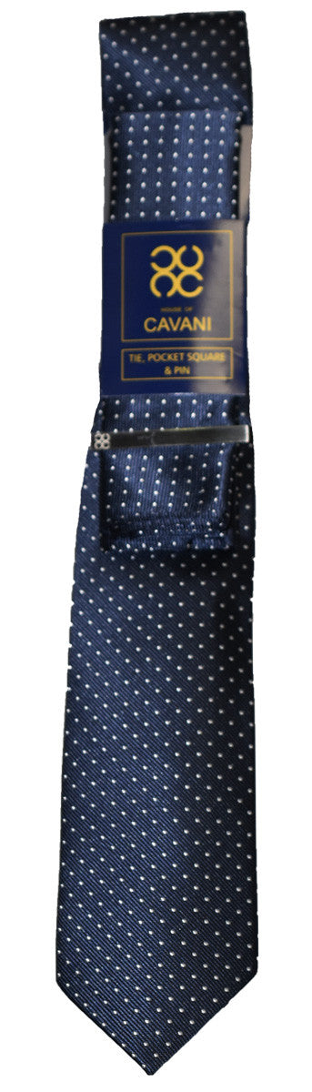 Navy Dot Tie Set - Cavani