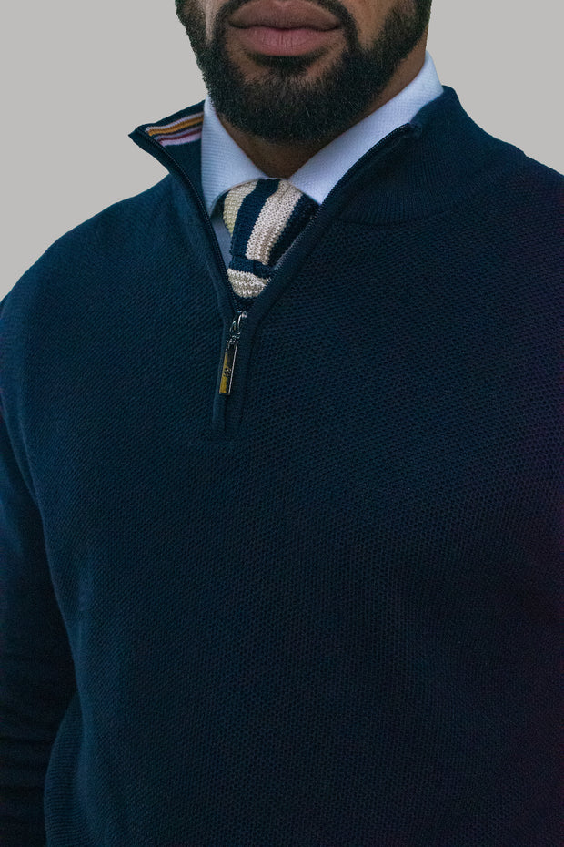 Kyle Navy Half Zip knit