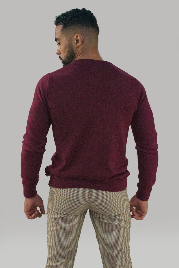 Cavani Wine Crewneck Knit