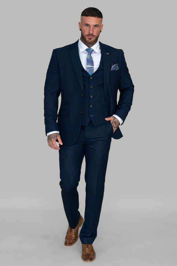 Seeba Navy Three Piece Suit