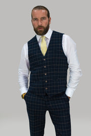 Shelby Navy Tweed Check Three Piece Suit