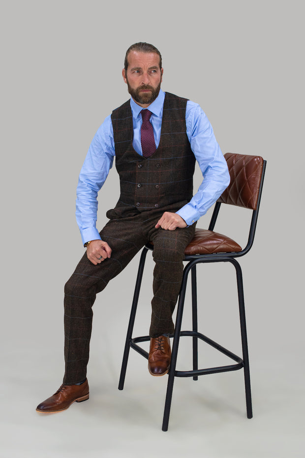 Tommy Brown Tweed Check Three Piece Suit