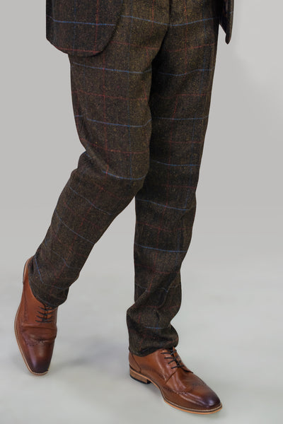 Tommy Brown Tweed Check Trousers