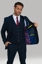 Angels Navy Check Three Piece Suit