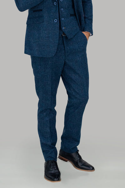 Carnegi Navy Check Tweed Trousers