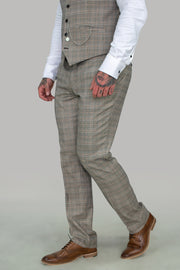 Quincy Stone Check Slim Fit Trousers